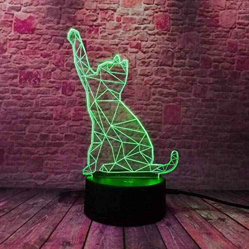 Night Cat With Touch Switch Summons 3D Led Night Light, 7 colores con control remoto y cable USB, regalo perfecto para niños