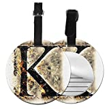 Round Travel Luggage Tags,Smoked Letter K Alphabet In Blaze With Grunge Design Ignited Writing Symbol,Leather Baggage Tag