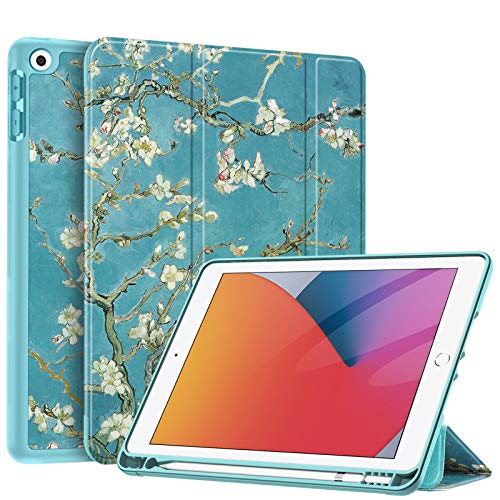 Fintie SlimShell Case for New iPad 8th Gen (2020) / 7th Generation (2019) 10.2 Inch - [Built-in Pencil Holder] Soft TPU Protective Stand Back Cover with Auto Wake/Sleep, Blossom