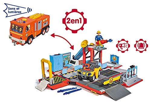 Smoby 109251029002 - Sam il pompiere Playset Camion Jupiter 2 in 1 elettronico, 1 personaggio Sam + Quad