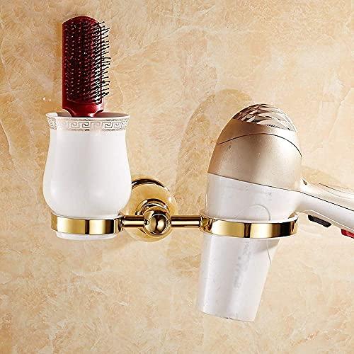 MERCB Secador de pelo de acero inoxidable estante de secador de pelo luz dorada soporte de baño bronce secador de pelo estante peine cepillo de dientes taza almacenamiento marco