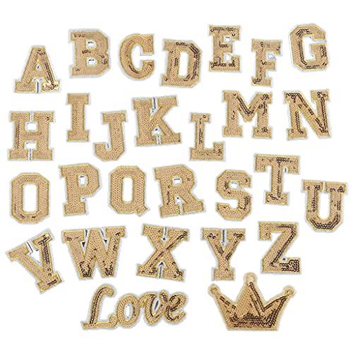 Dashun 28 Pièces Glitter Paillettes Patch A-Z Love Crown Alphabet Lettre Coudre sur des Patchs Broderie Applique pour T-Shirt Chapeau Décor Réparation Décoration Accessoires De Vêtement