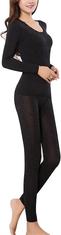 XIAOSEN Women Warm Thermal Underwear Woman Long Long Sleeve Thermal Clothing Underwears Sets (Color : Purple, Size : One Size)