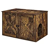 FEANDREA Hidden Cat Litter Box Enclosure, Wooden Cabinet Furniture, Cat Washroom with Doors, Indoor Cat House, Nightstand, End Table, 31.5 x 20.9 x 19.4 Inches, Rustic Brown UPCL002X01