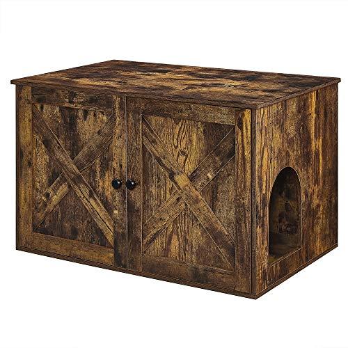 FEANDREA Hidden Cat Litter Box Enclosure, Wooden Cabinet Furniture, Cat Washroom with Doors, Indoor...