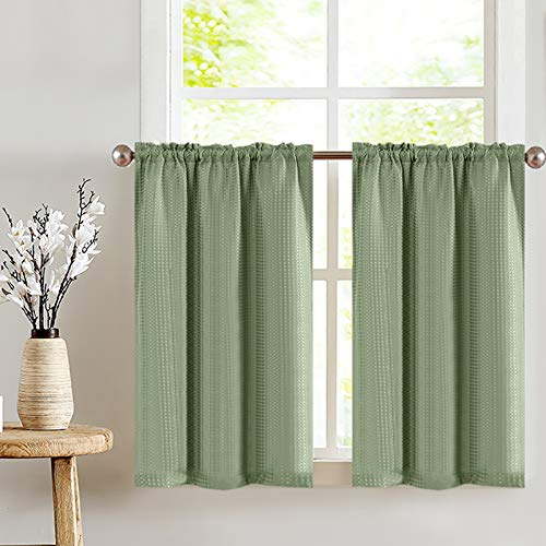 Olive Cafe Curtains Green Sage 36 inch Length Tiers Waffle Weave Textured Kitchen Window Curtain Sets 2 Panels