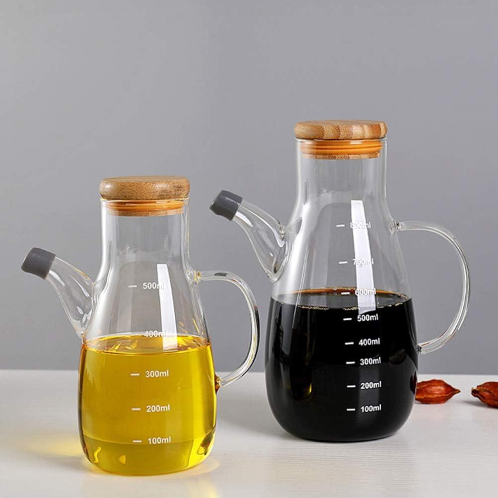 YARNOW Botella Dispensadora de Aceite 500 Ml Botella de Vinagrera de Aceite Y Vinagre de Vidrio Recipiente de Botella de Aceite Transparente a Prueba de Fugas Resistente Al Calor para