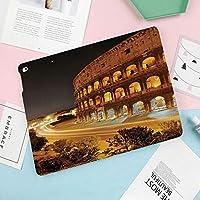 多彩なiPad 9.7 ケース PU レザー iPad 9.7 2018 第6世代 / iPad 2017 第5世代 / iPad air/iPad pro 9.7 / iPad air12 対応 ケー図案を焼き付けるコロッセオの夜景ローマヨーロッパの都市遺産記念碑風景