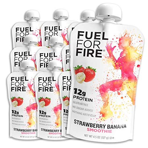 Fuel For Fire - Strawberry Banana (12 Pack) Fruit & Protein Smoothie Squeeze Pouch | Perfect for Workouts, Kids, Snacking - Gluten Free, Soy Free, Kosher (4.5 ounce pouches)