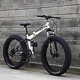 LUO Bicicleta, Bicicleta de montaña plegable para hombre con neumático gordo para adultos, Bicicletas de nieve con suspensión todo terreno, Freno de disco doble Bicicleta de crucero de playa, Ruedas