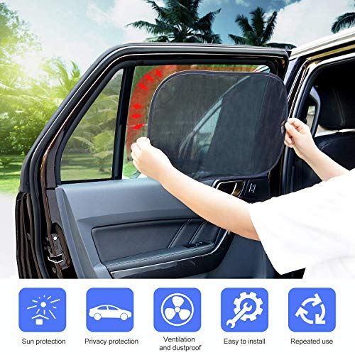 Adoric Car Window Shades, 3 Pack Car Sun Shades for Baby - 80 GSM 20'x12' Extra Large Static Cling Side Window Shade for Maximum UV Protection