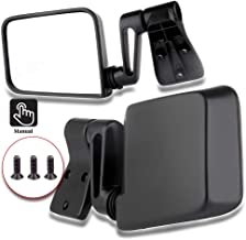 ECCPP Texture Side View Mirror Black Pair Side Mirror Replacement fit for 1987-2002 Jeep Wrangler (exclude 1996) with Manual Folding