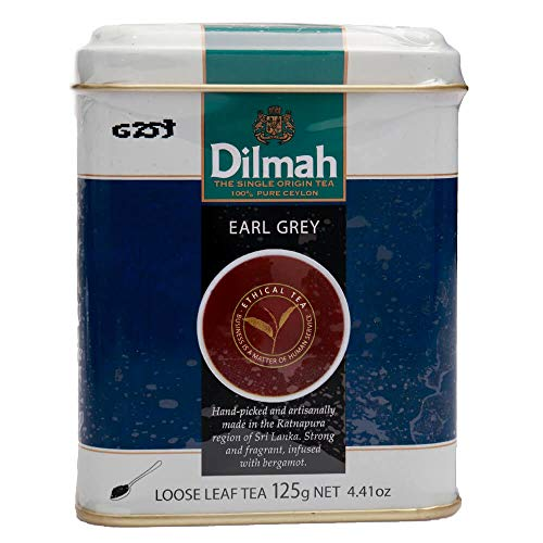 Dilmah Earl Grey Tea loser Blatttee 125g - Feinster reiner Ceylon-Schwarztee mit Bergamottengeschmack-Box Sri Lanka Dilmah-Teebeutel im Folienbeutel