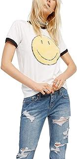 Emoji Camisetas Mujer Manga Corta Verano 2019 Moda Vintage Tumblr Divertidas Blancas Poleras Tops Tallas Grandes