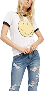Emoji T Shirt Women Summer Vintage White Funny Graphic Cute Smiley Face Tees Tops Oversized Plus Size