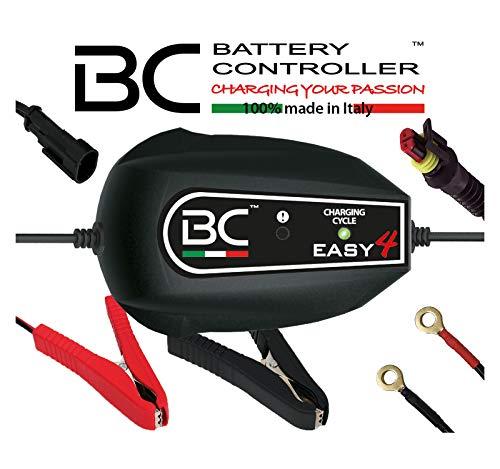 BC Battery Controller BC EASY 4, Cargador de baterías y Mantenedor Inteligente, 4 Ciclos de Carga para todas las Baterías de Coche y Moto 12V de Plomo-Ácido, 1 Amp