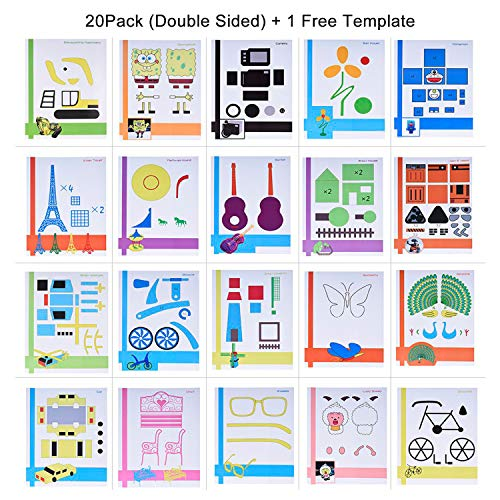 Starworld 3d-Schablonen, 3d, Bücher für Doodle-Muster, mit transparenten, Geschenk für Kinder (20VERSCHIEDENEN 40Blatt Muster, verschiedene Designs)