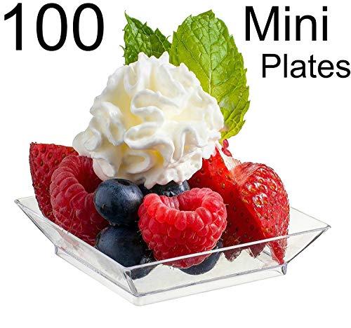 Zappy 100 Mini Dessert Plates 2.5' x 2.5' 100 Square Mini Plates - Disposable Hard Plastic Petite Tasting Sample Plastic Mini Dessert Plates Mini Square Appetizer Plates Clear
