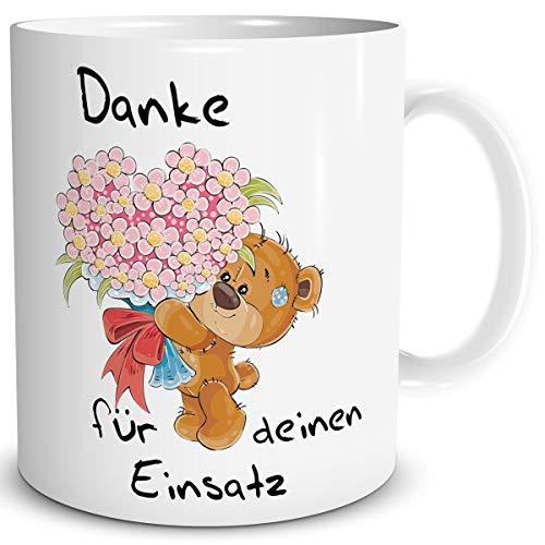 TRIOSK Tasse Danke lustig mit Spruch Bären Einsatz Dankeschön für Alles Geschenk Dankessprüche Frauen Freundin Männer Kollegen Chef Erzieher Weiß