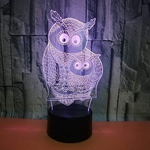 MQJ Animal Búho 3D Led Ilusión Lámpara Noche Luz Óptica Mesita de Noche Luces de Noche 16 Colores Cambiando el Botón Táctil Decoración de la Decoración Lámparas de Escritorio,