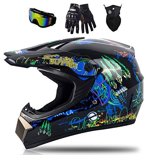 Muccy Casco Moto Integrales para Motocross, Casco Bicicleta de Carretera, Quad Dirt Bike Crash Casco de Descenso Bicicleta de montaña, Guantes, Gafas, Máscaras, Azul Negro Brillante,M