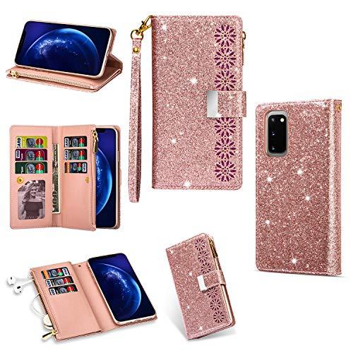 Funda para Galaxy A32 con cremallera para Samsung A32 5G Bumper Cover TPU Wallet Bling Phone Case (no para versión 4G) (oro rosa)