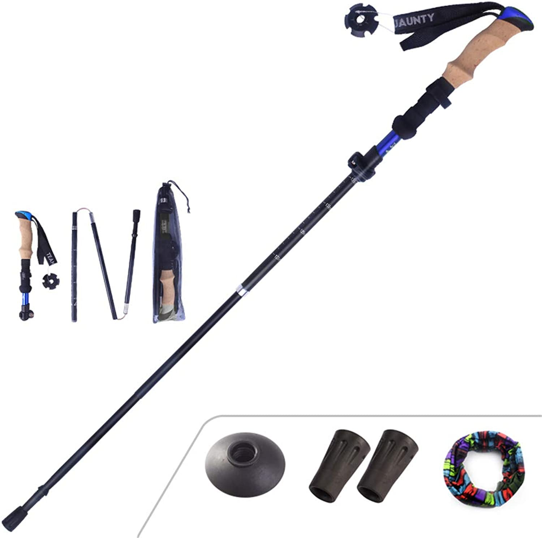 Hiking Poles,Collapsible 5 Fold Walking Poles  Adjustable Lightweight Aluminum Walking Sticks, Portable Trekking Pole with Cork Texture Grip,blueee