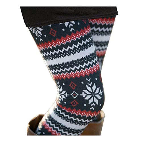 Casual Womens Seasonal Print Full Length High Waisted Snowflake Leggings Plus XL