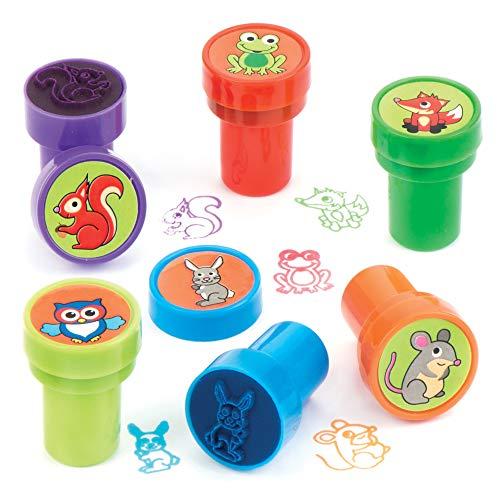 Baker Ross AV390 Ross Selbstfärbende Stempel Waldtiere als lustiges Spielzeug für Kinder zum günstigen Preis – perfekt als kleine Party-Überraschung für Kinder zu Halloween (10 Stück)