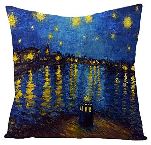 AtHomeShop - Federa decorativa per cuscino, 40 x 40 cm, in lino con stampa Van Gogh, comoda e quadrata, per divano, camera da letto, soggiorno, terrazza, Aoto, colore blu, stile 8