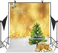 HDクリスマスツリーの背景クリスマスツリー現在の黄色いライト写真ビデオパーティースタジオ写真の背景7X10ftMT037