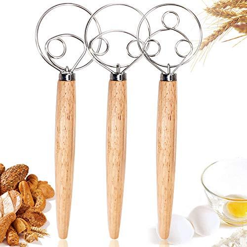 Kalolary 3 Stück dänische Teig Schneebesen, Premium Schneebesen mischen zum Backen in der Küche Holzgriff Edelstahl Manuelle Teigmischung Brotkuchenherstellung (3 Größen inbegriffen)