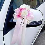 CULASIGN Autoschmuck Auto Türschmuck Blumenschmuck Hochzeit Blumen, Antennenschleifen Schleife 6 STK (Rosa)