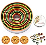 Somine Round Cookie Biscuit Cutter Set 12 Pieces Graduated Circle Pastry Cutters Rust-Free