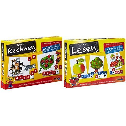 Noris 606076341 - Rechnen (1.+2. Klasse), Kinderspiel & 606076340 - Spaß am Lesen Kinderspiel