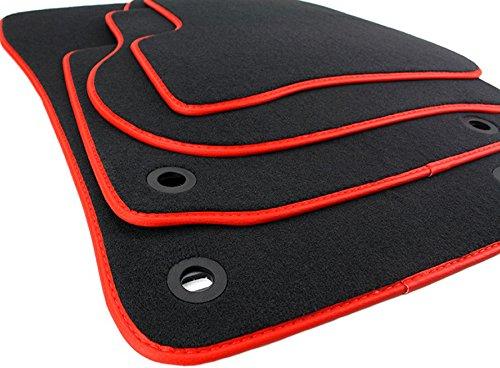 kfzpremiumteile24 Fußmatten / Velours Automatten Premium Qualität Stoffmatten 4-teilig schwarz/rot Einfassung Lederrand