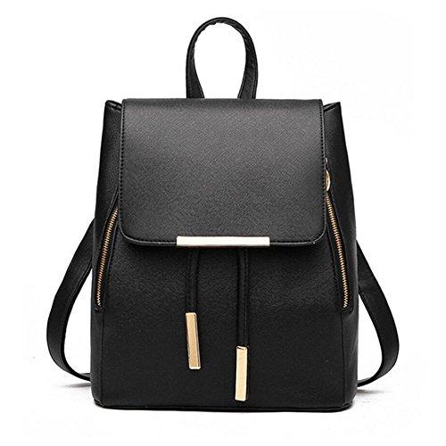 Women Backpack Purse PU Washed Leather Large Capacity Ladies Rucksack Shoulder Bag (Black 4)