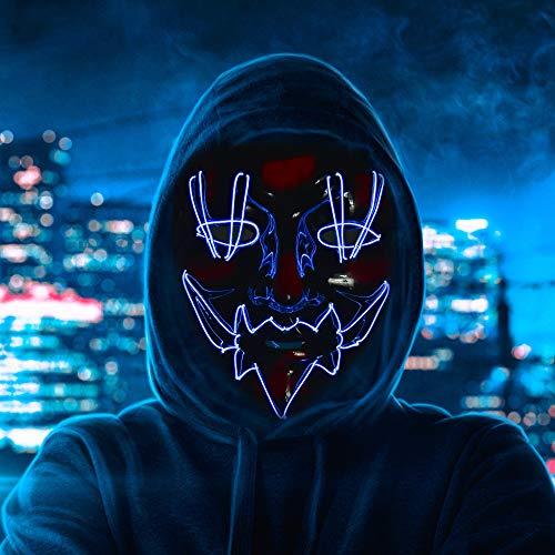 MS.DEAR LED Maske Purge Maske, Halloween Grusel Maske mit 3 Blitzmodi für Halloween Fasching Karneval Cosplay Party, Halloween LED Gruselige Maske - Blau