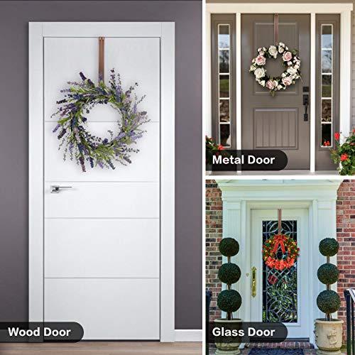 Wreath Hanger,Adjustable Length 14.9-25 Inch Metal Door Hanger,Wreath Hanger for Front Door 20 lbs Larger Christmas Wreaths Decorations Hook, Bronze