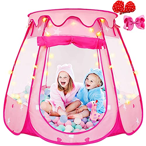 Catisinmyo Pop Up Tent for Girls,Foldable Ball Pits for Toddlers with a Carrying Bag,Toddler Girl Toys Play Tents with Star Light and Hair Bows Clips,as Indoor and Outdoor Playhouse Girl Gift