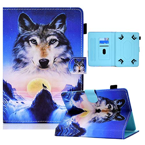 Universal Case for 7 inch Tablet, Coopts Slim PU Leather Shockproof Magnetic Closure Multi-Stand Case for MediaPad T3 7'/ Galaxy Tab A 7.0/ Galaxy Tab 3 Lite 7.0/MatrixPad Z1 and More, Wolf