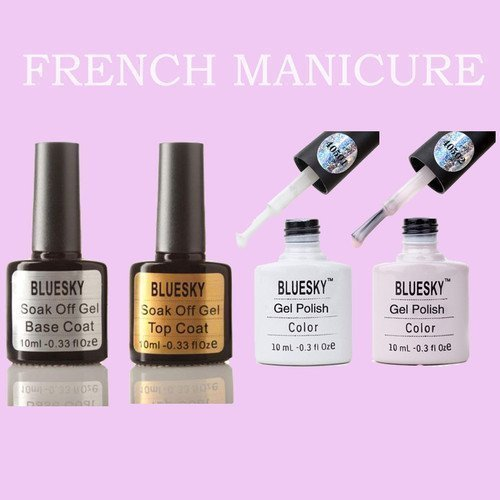 Bluesky FRENCH MANICURE Pack!Soak off uv gel nail polish!!!4 bottles: Amazon.es: Electrónica