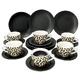 MamboCat 18-teiliges Kaffee-Service Leopard Lampart I modernes Steingut-Geschirr-Set für 6 Personen - mit Leoparden-Muster I Tassen Unterteller Kuchenteller I Kaffeeservice 6 Personen Schwarz matt