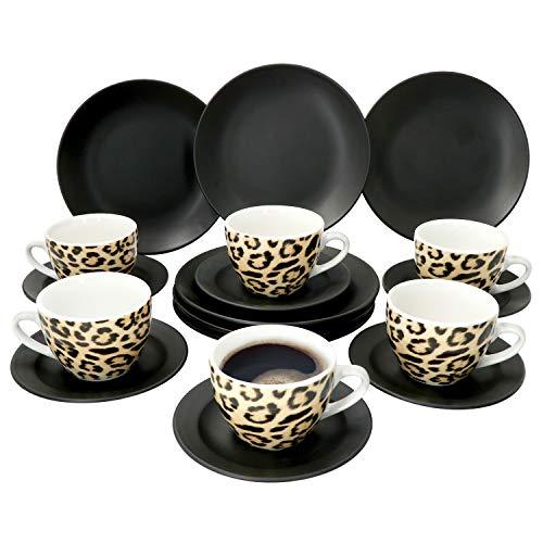 MamboCat 18-TLG. Leopard Lampart Kaffee-Service I Schwarz & Leoparden Muster I Kaffeetasse, Untertasse & Kuchenteller für 6 Personen I Kaffee-Set