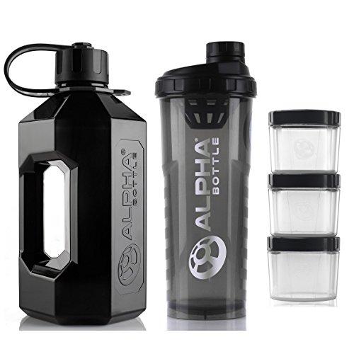 Alpha Bottle 2 Litre XXL Water Bottle Jug + 1 Litre Protein BCAA Shaker + Supplement Storage Pods (Pack of 3) (Smoke Black)