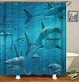 ZZZdz Kreaturen Im Ozean. Hai. Duschvorhang 3D Hd-Druck Verblasst Nicht 180X180 cm Wasserdichtes Gewebe 12 Freie Haken Hauptdekoration.