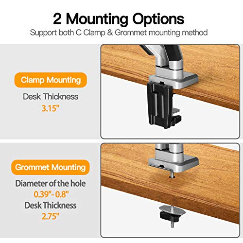 Dual Monitor Mo   unt Stand - Height Adjustable Gas Spring Monitor Desk Mount Swivel VESA Bracket Fit Two 17 to 32 Inch Computer Screens with Clamp, Grommet Mounting Base, Each Arm Holds up to 17.6lbs