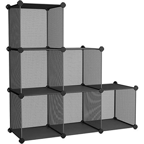 SONGMICS 6-Cube Metal Mesh Storage Cube, Storage Shelves Organizer, Modular Bookcase, DIY Closet Cabinet Shelf for Books, Plant, Toys, Shoes, Clothes, 36.6 x 12.2 x 36.6 Inches, Black ULPL111H