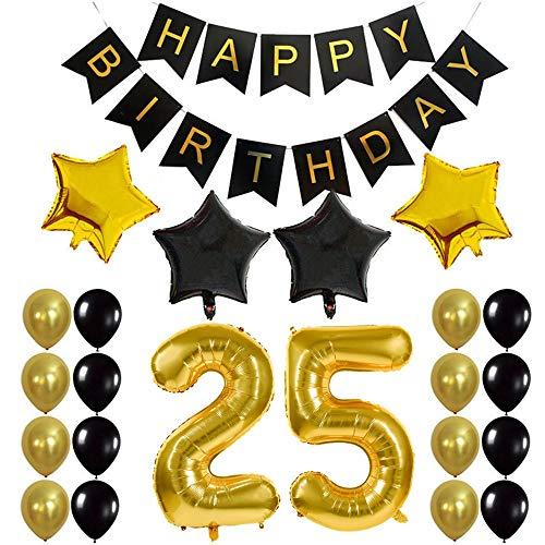 Crazy-M Deco cumpleaños número 25 Set de Globos de cumpleaños 25 Deco de Fiesta de cumpleaños para niña- Globo de Papel de Helio Inflable Banner de Feliz cumpleaños Globos de látex Globo