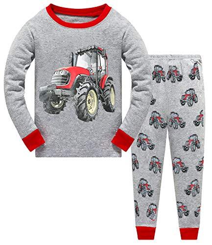 Schlafanzug Jungen Langarm Zweiteiliger Baumwolle Kinder Nachtwäsche Dinosaurier Bagger Feuerwehrauto Zug 92 98 104 110 116 122 (92, Traktor)